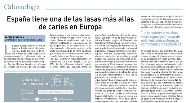 Tasas altas de caries España